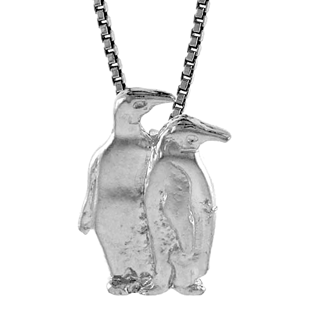 Sterling Silver Double Penguin Pendant, 3/4 inch Tall
