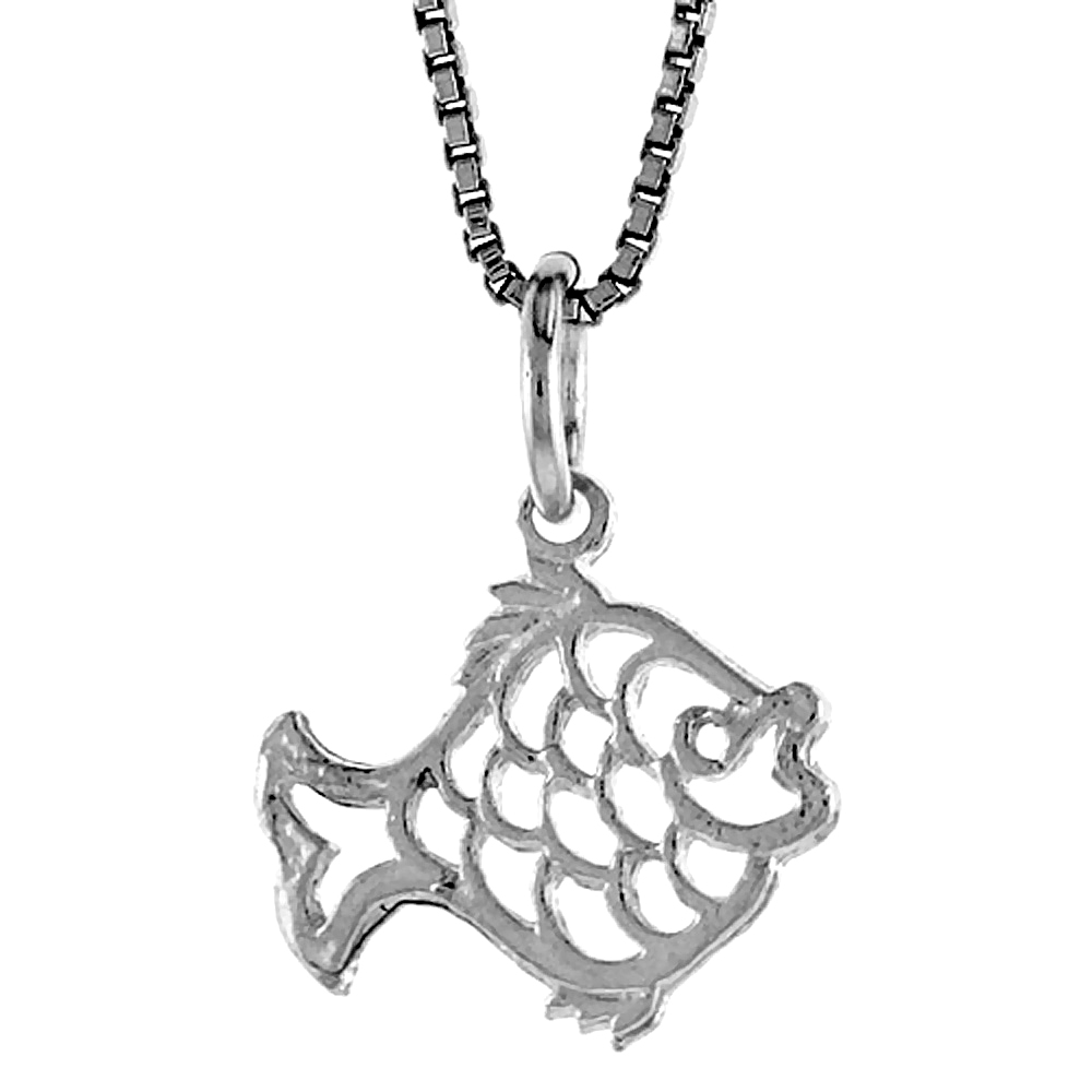 Sterling Silver Cut-out Fish Pendant, 1/2 inch Tall