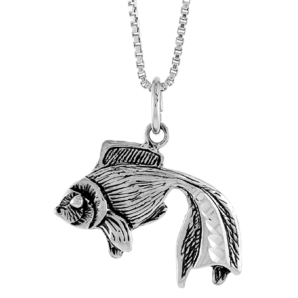 Sterling Silver Fighting Fish Pendant, 3/4 inch Tall