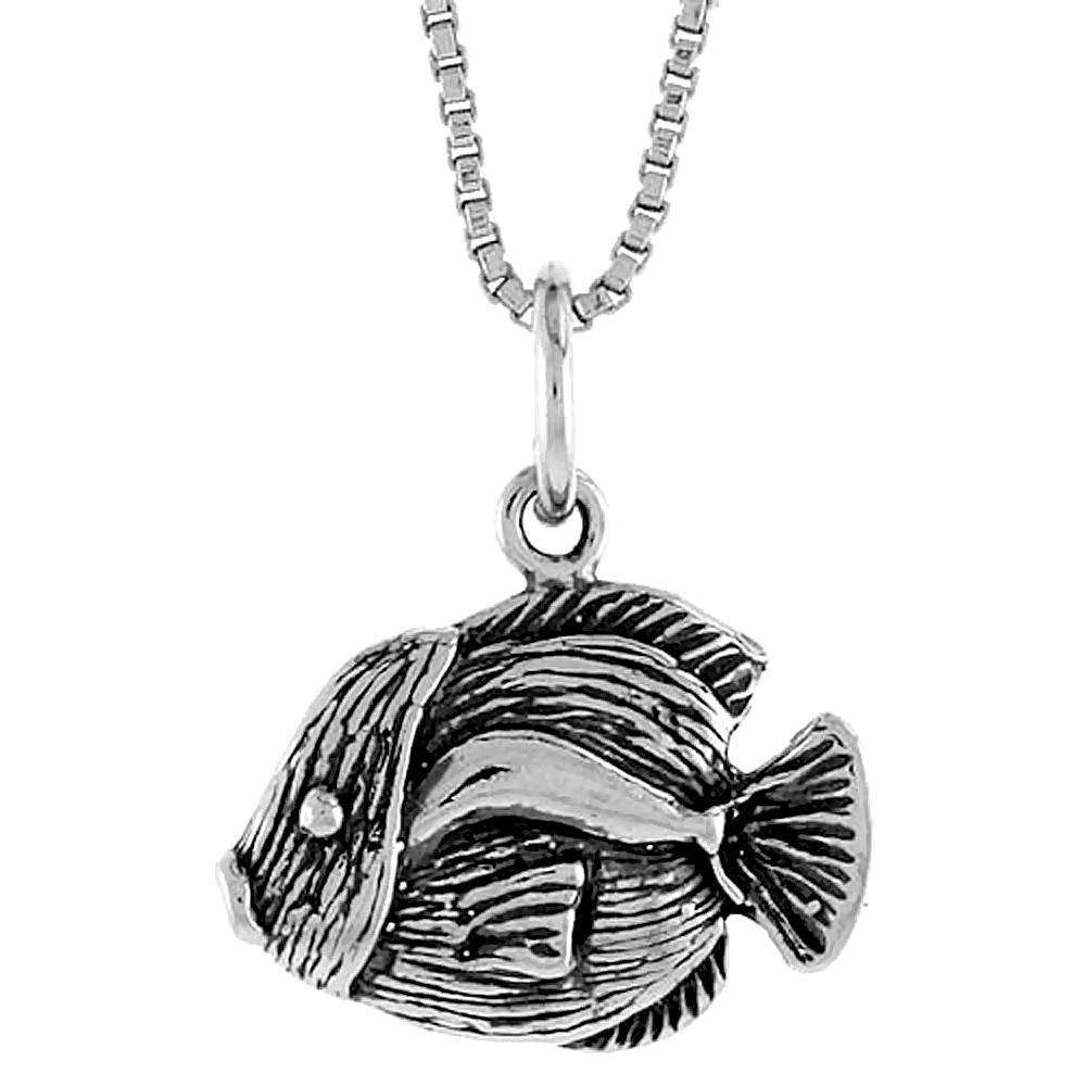 Sterling Silver Fish Pendant, 1/2 inch Tall