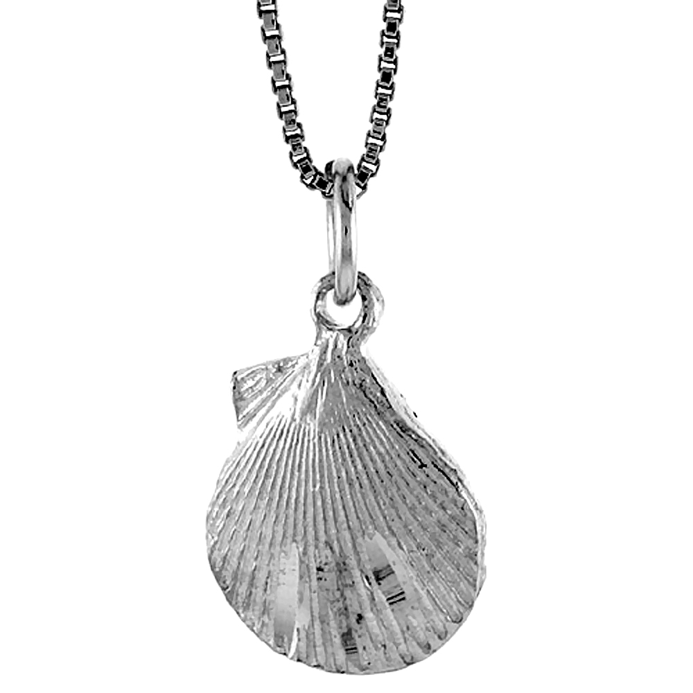 Sterling Silver Clam Shell Pendant, 1/2 inch Tall