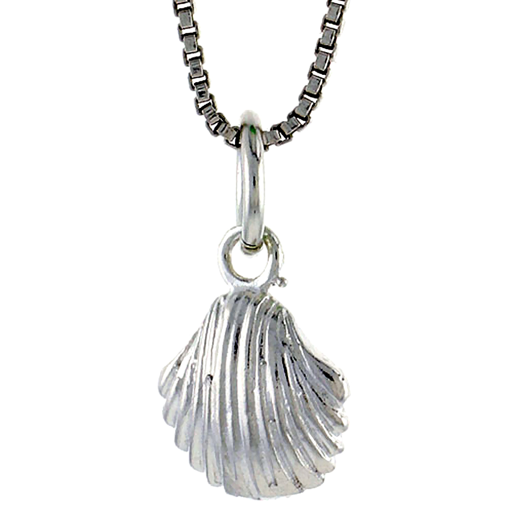 Sterling Silver Clam Shell Pendant, 3/8 inch Tall