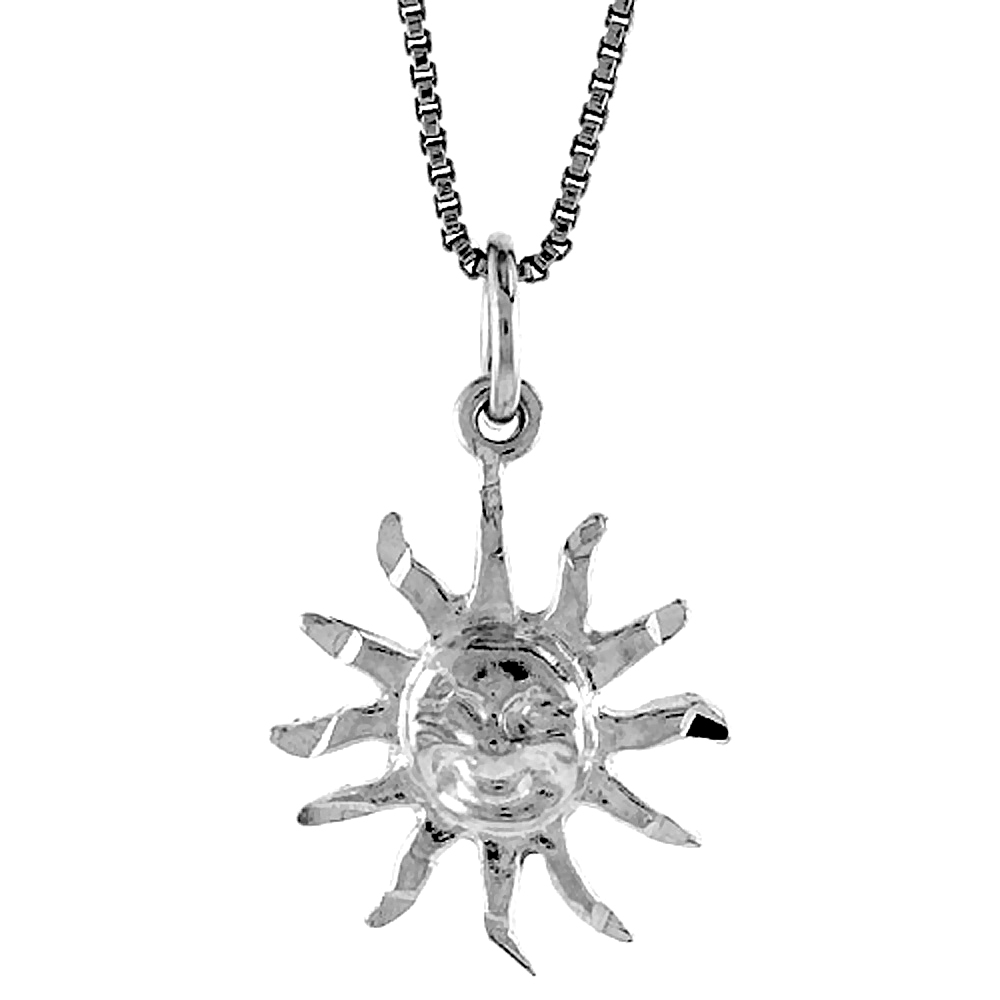 Sterling Silver Sun Pendant, 5/8 inch Tall