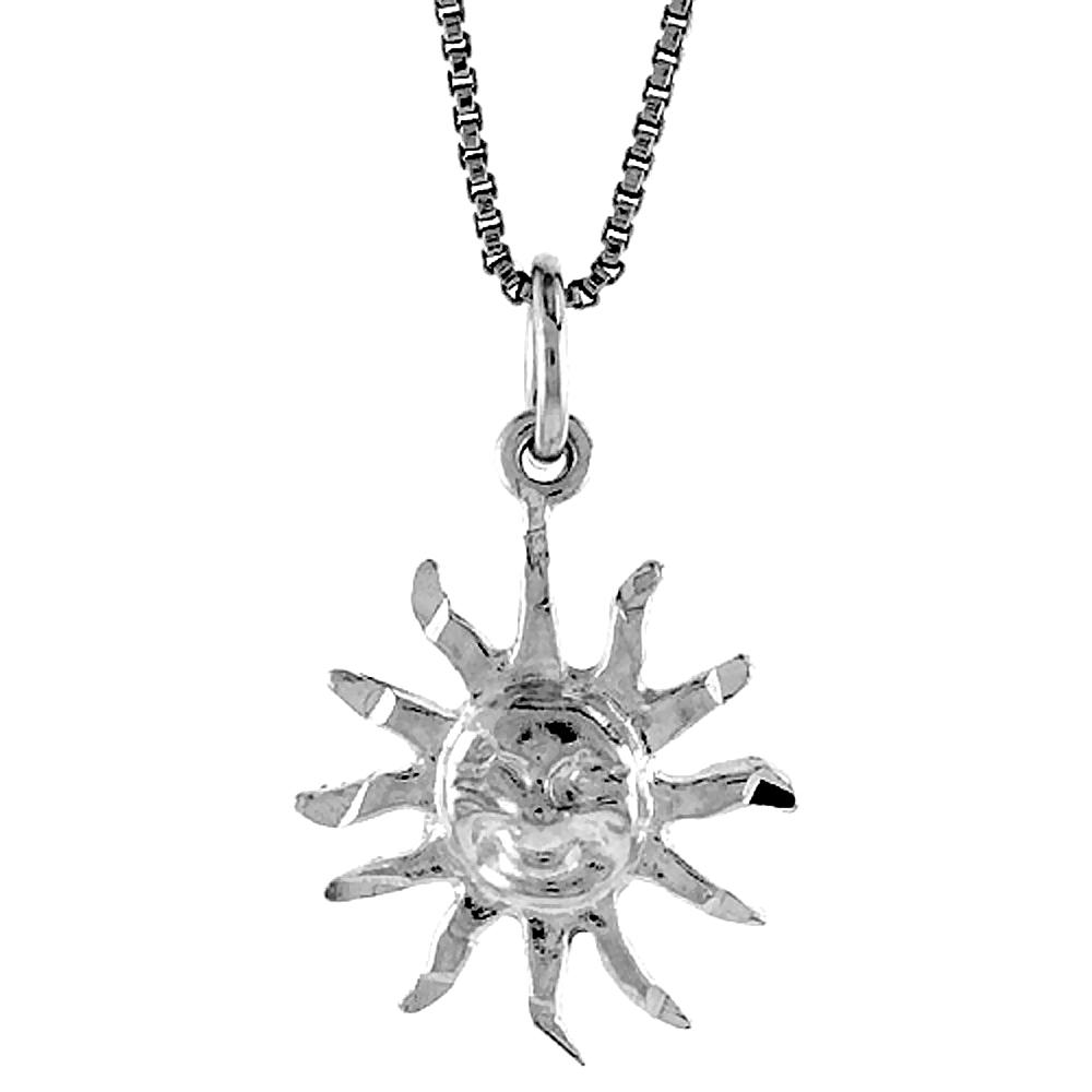 Sterling Silver Sun Pendant, 5/8 inch Tall