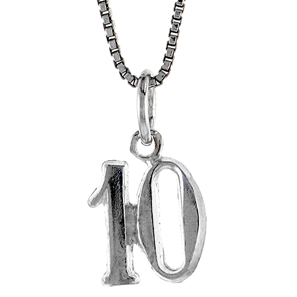 Sterling Silver Small number 10 Charm, 1/2 inch Tall