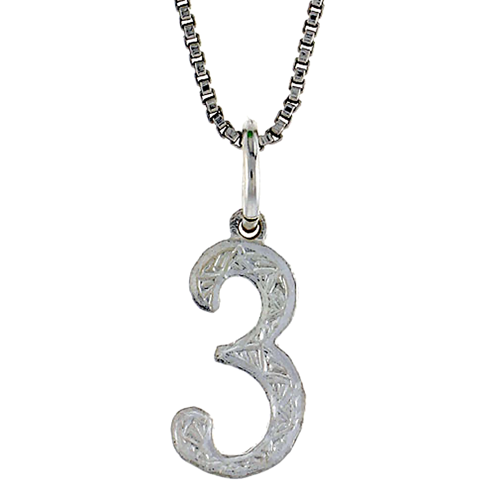 Sterling Silver number 3 Charm, 1/2 inch Tall