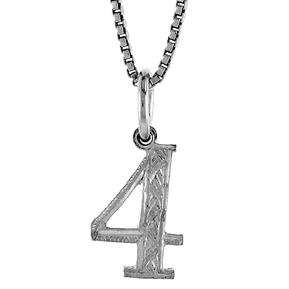 Sterling Silver number 4 Charm, 1/2 inch Tall
