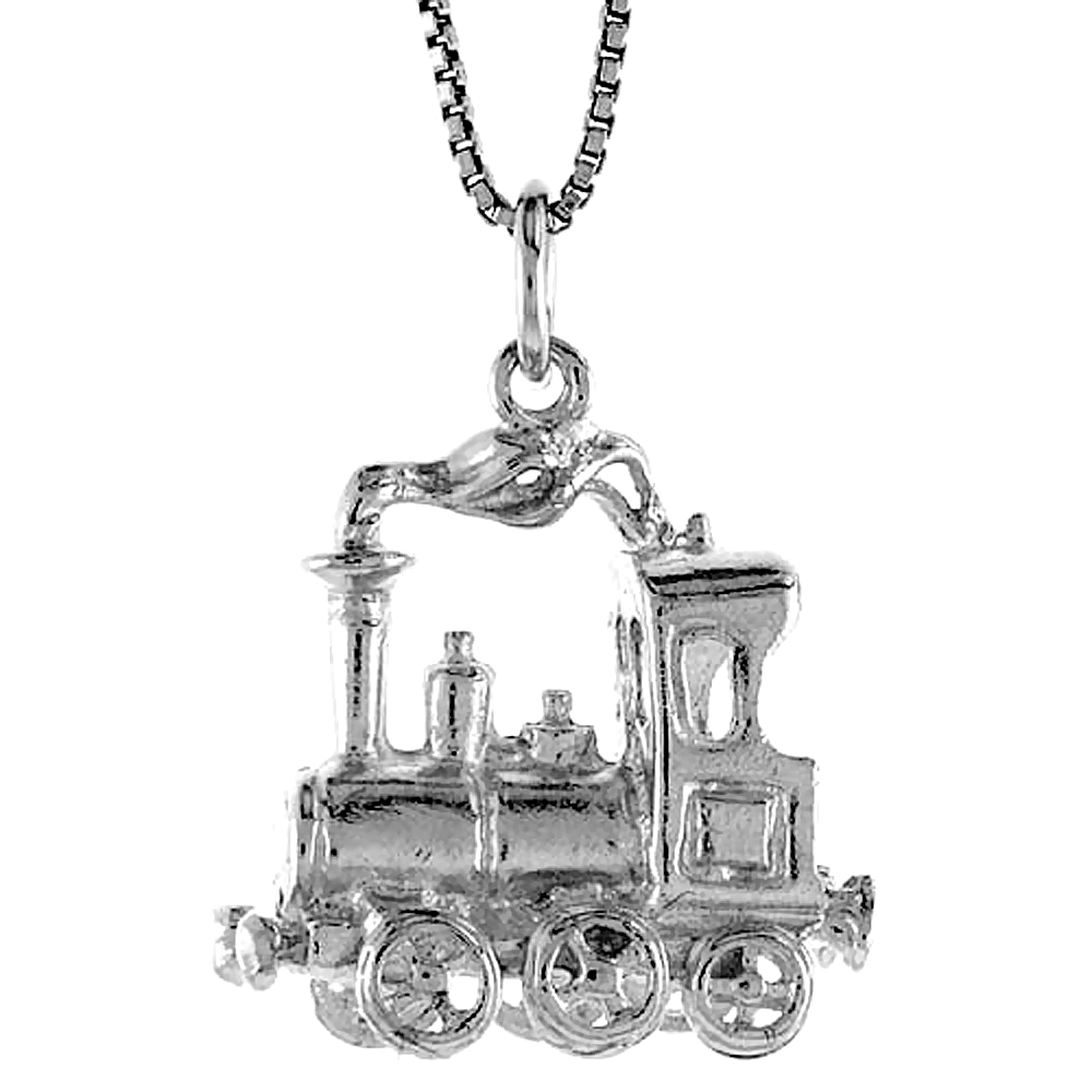 Sterling Silver Steam Locomotive Pendant, 7/8 inch Tall