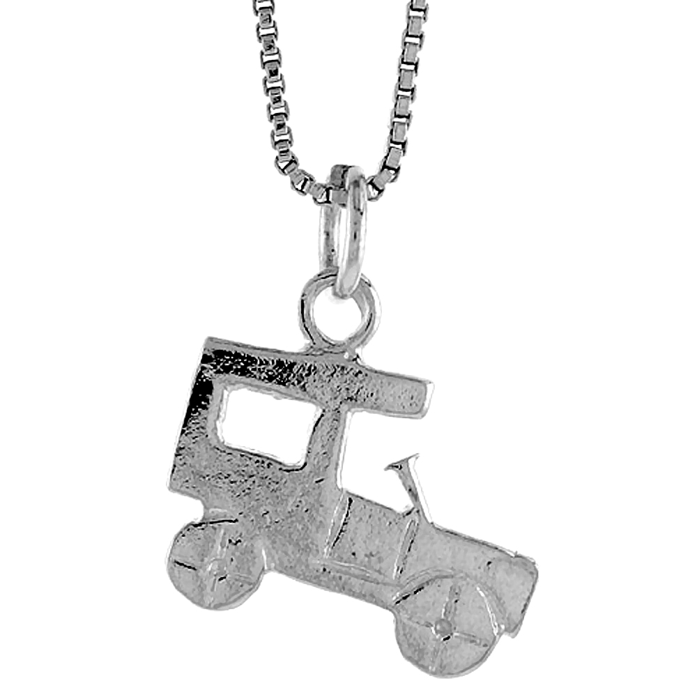 Sterling Silver Antique Car Pendant, 1/2 inch Tall