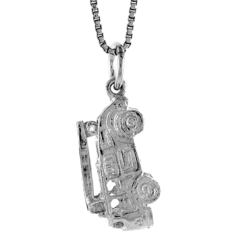 Sterling Silver Fire Truck Pendant, 3/4 inch Tall