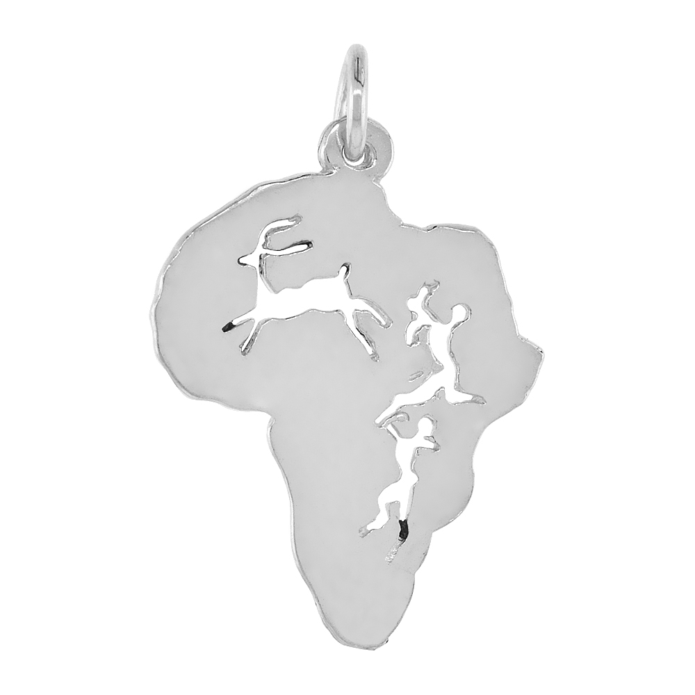 Sterling Silver Continent of Africa Pendant, 1 inch Tall