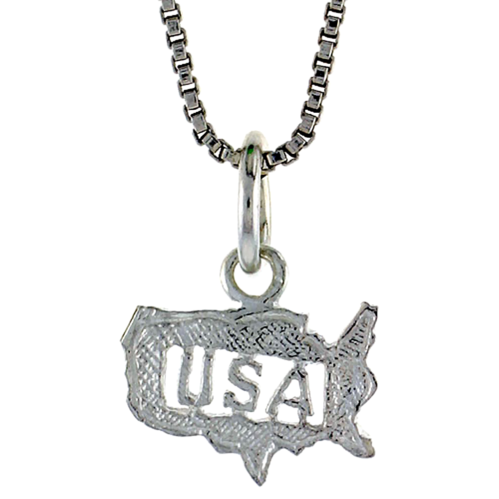 Sterling Silver Small USA Pendant, 5/16 inch Tall
