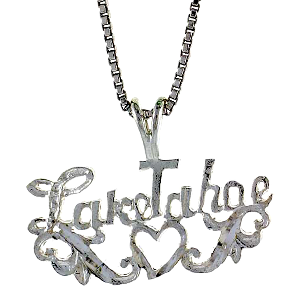 Sterling Silver I Love Lake Tahoe Pendant, 1/2 inch Tall