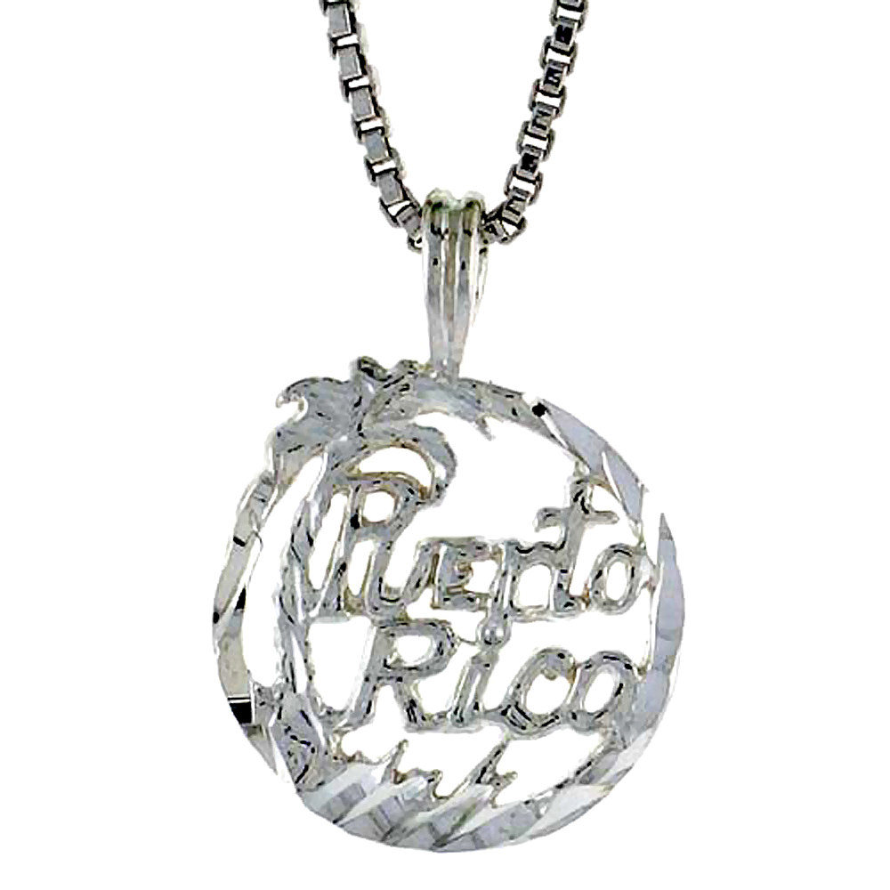 Sterling Silver Puerto Rico Pendant, 1/2 inch Tall