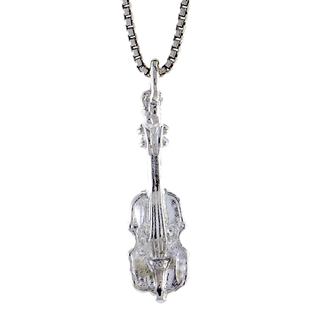 Sterling Silver Small Violin Pendant, 3/4 inch Tall