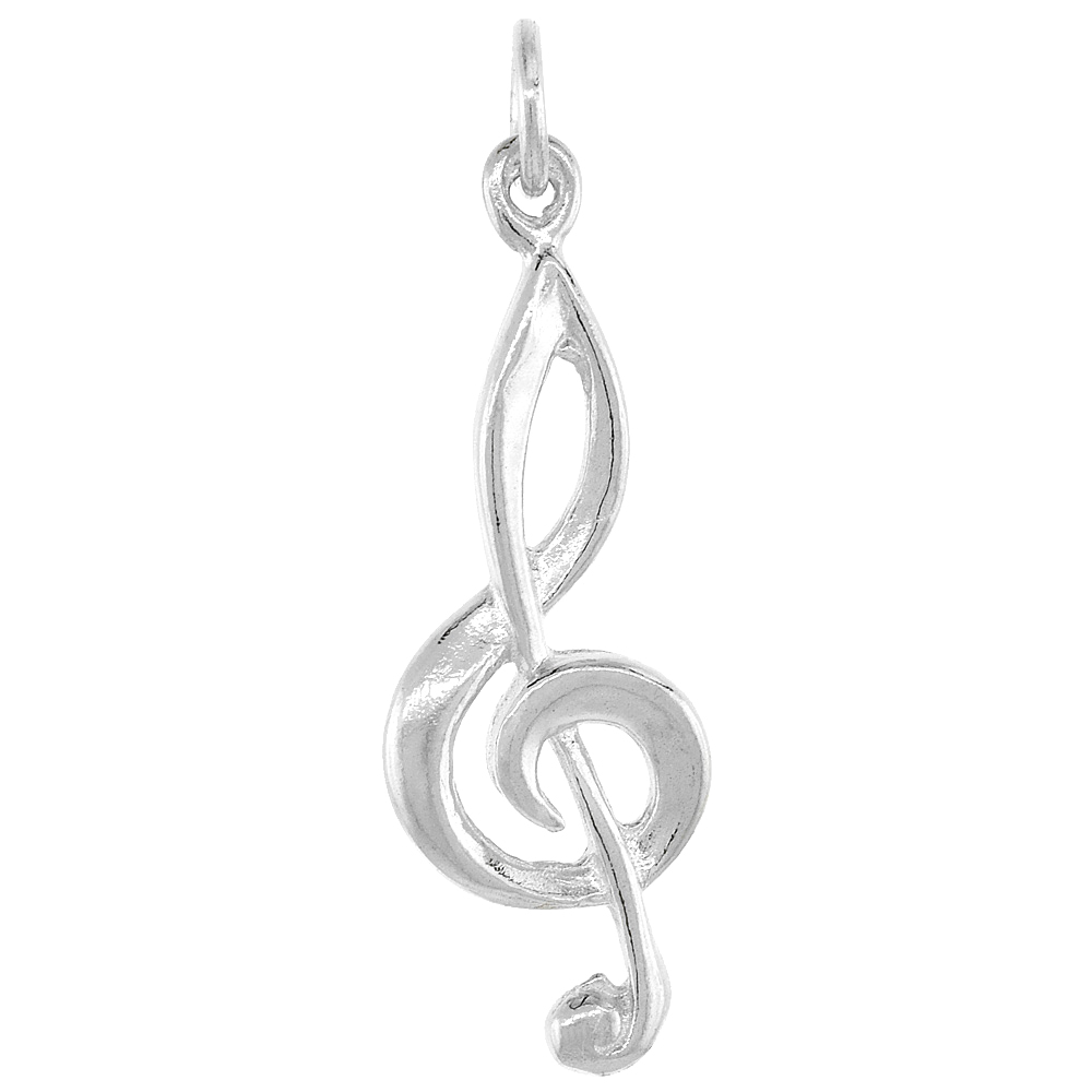 Sterling Silver G-Clef Pendant, 1 inch Tall