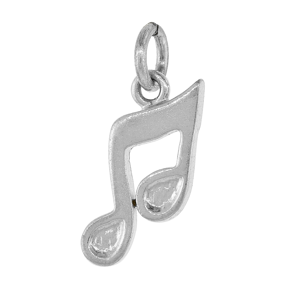 Sterling Silver Musical Note Pendant, 1/2 inch Tall