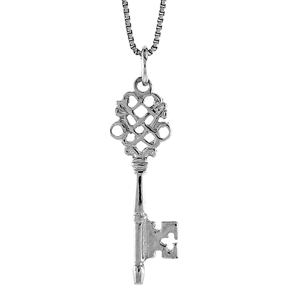 Sterling Silver Key Pendant, 1 1/8 inch Tall