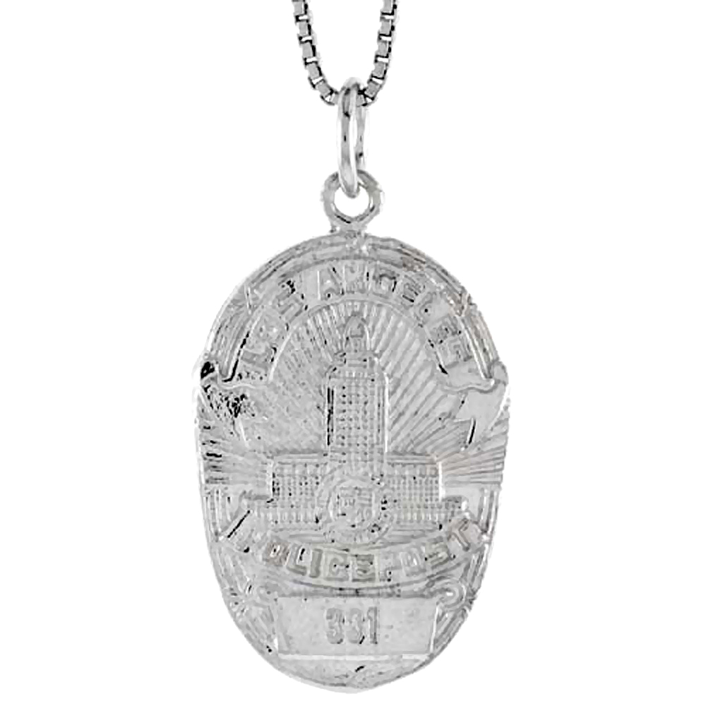 Sterling Silver Los Angeles Police Badge Pendant, 1 inch Tall