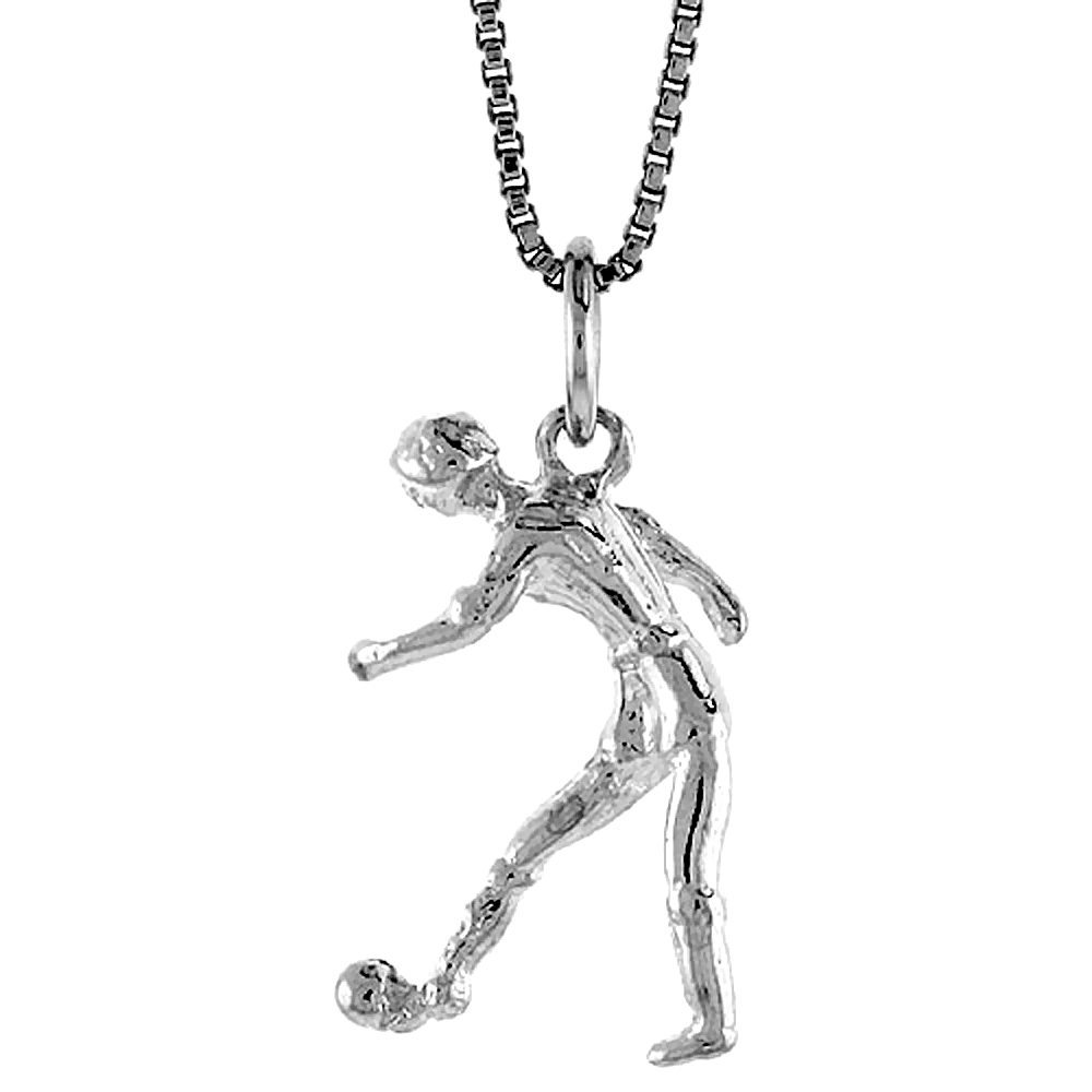 Sterling Silver Soccer Player Pendant, 3/4 inch Tall