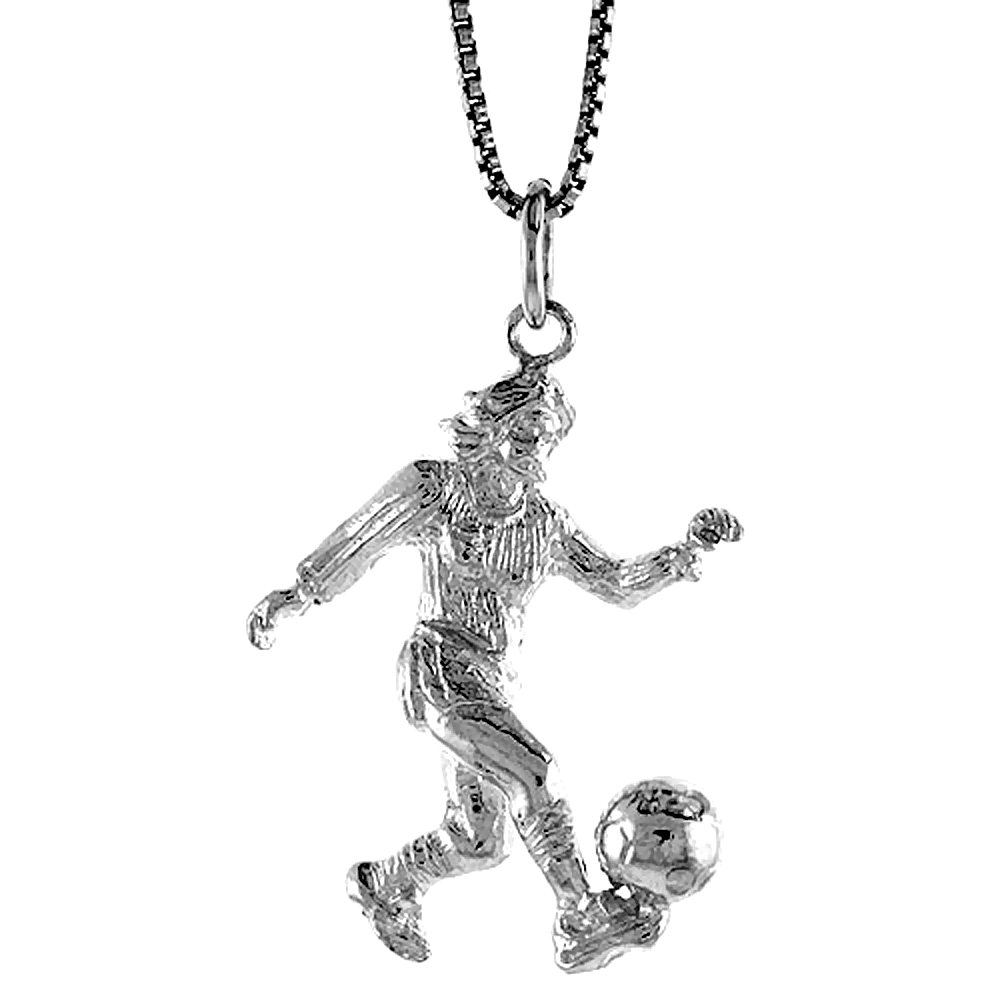 Sterling Silver Woman Soccer Player Pendant, 1 1/16 inch Tall