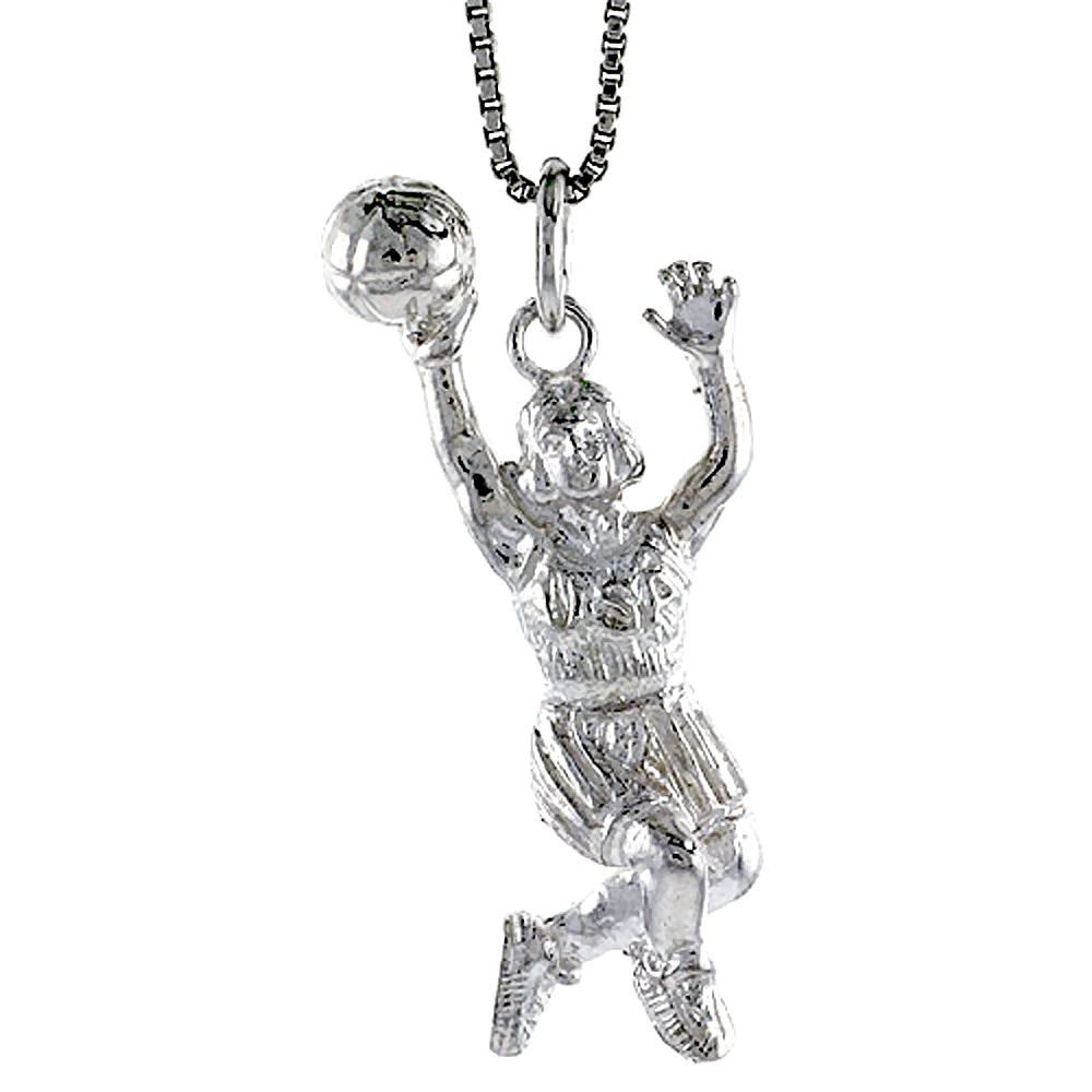 Sterling Silver Woman Basketball Player Pendant, 1 1/2 inch Tall