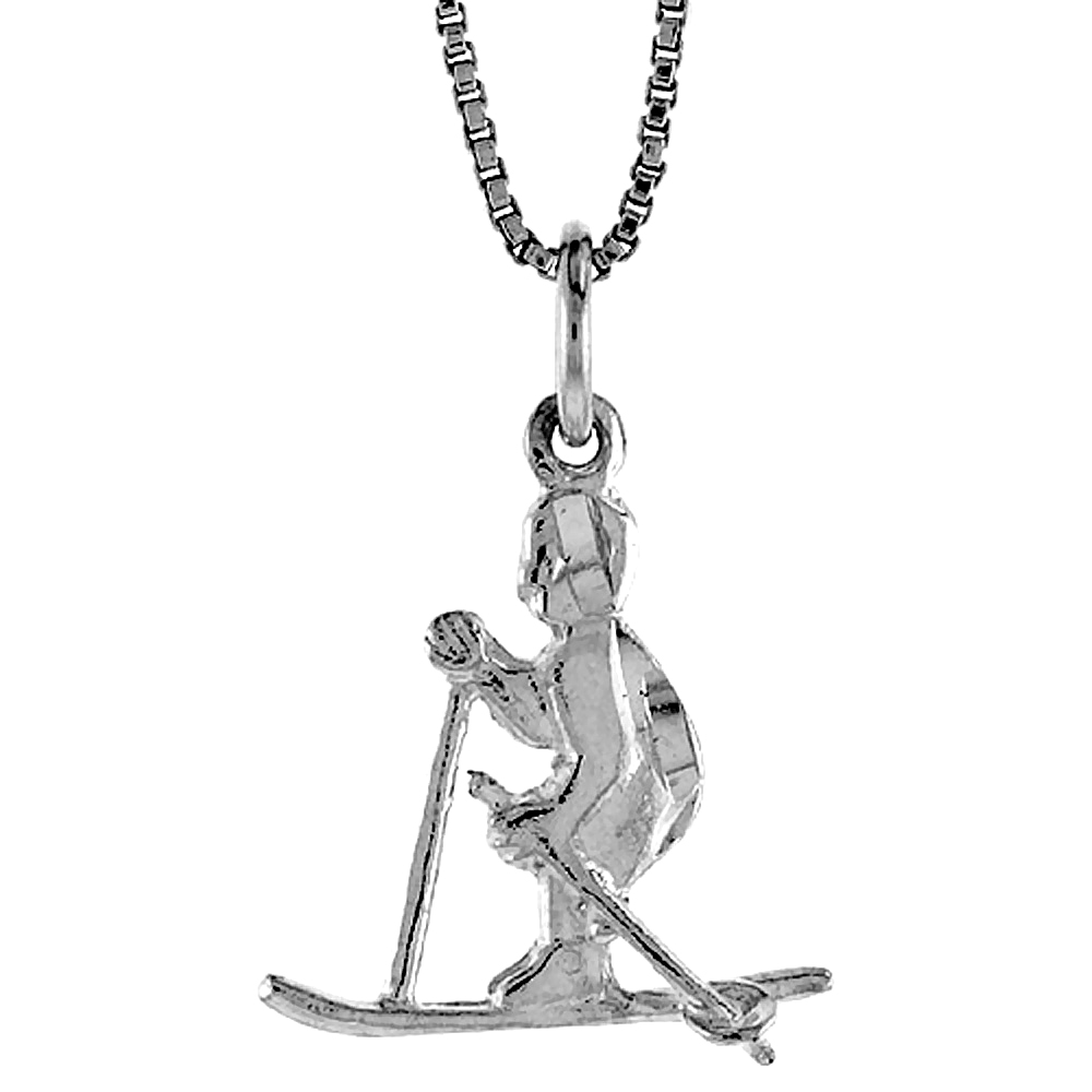Sterling Silver Skier Pendant, 3/4 inch Tall