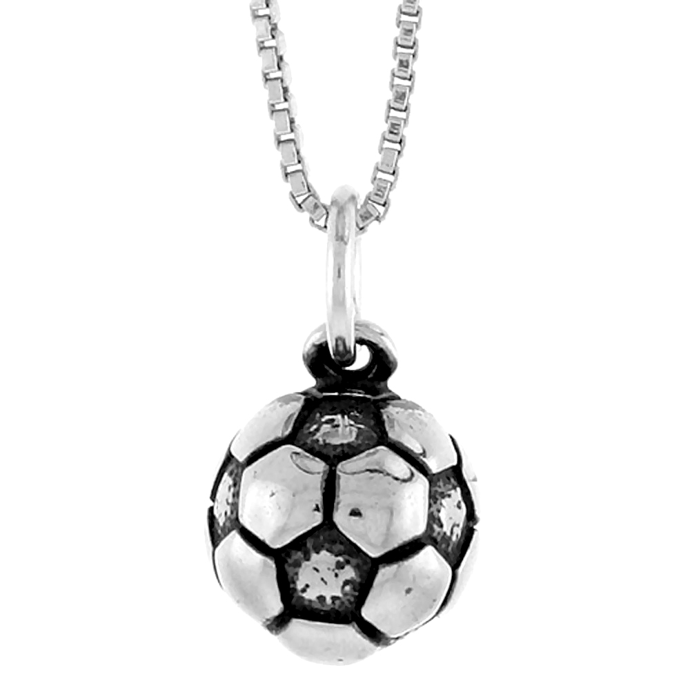 Sterling Silver Soccer Ball (hollow back) Pendant, 1/2 inch Tall