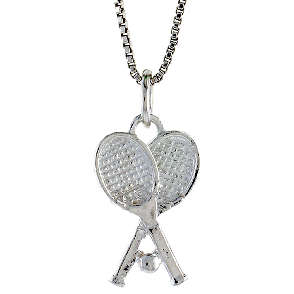 Sterling Silver Tennis Racket Pendant, 3/4 inch Tall