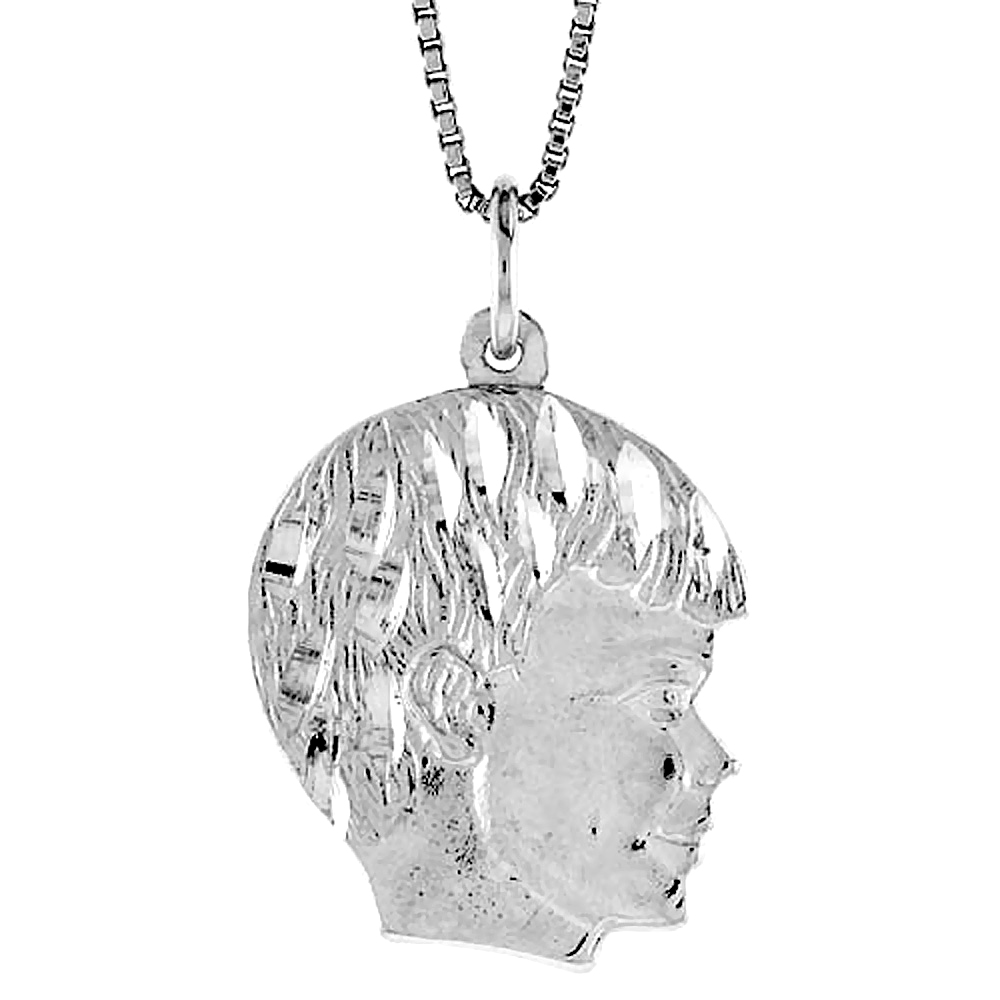 Sterling Silver Boy's Head Pendant, 7/8 inch Tall