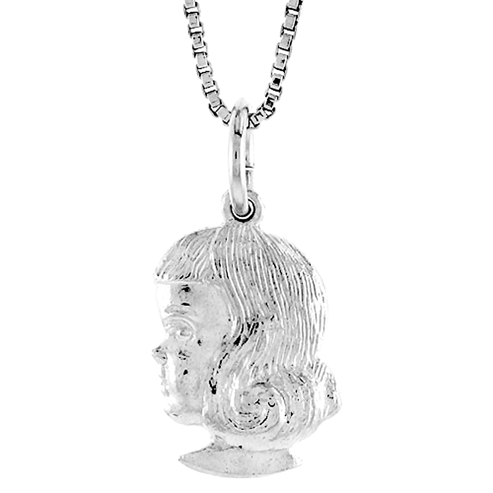 Sterling Silver Girl's Head Pendant, 1/2 inch Tall