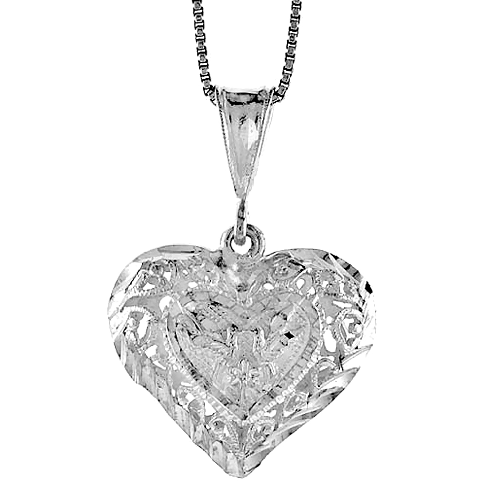 Sterling Silver Filigree Heart Pendant, 7/8 inch Tall