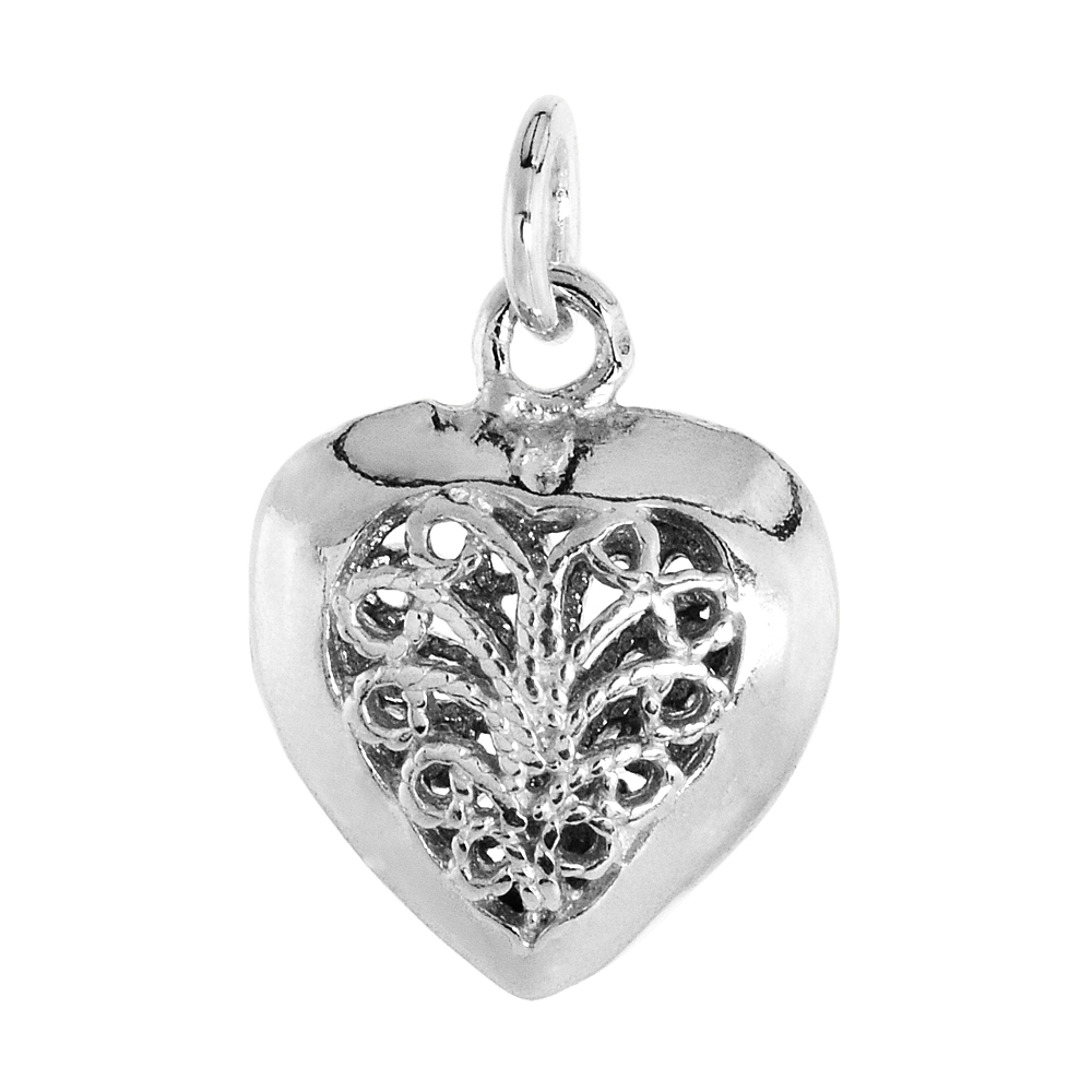 Sterling Silver Small Filigree Heart Pendant, 5/8 inch Tall