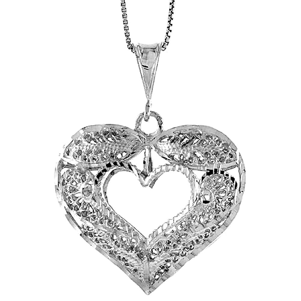 Sterling Silver Large Filigree Cut-out Heart Pendant, 1 3/8 inch Tall