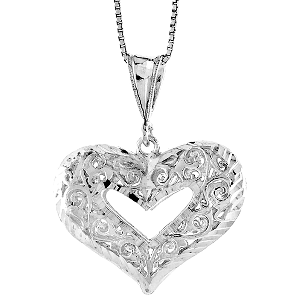 Sterling Silver Filigree Cut-out Heart Pendant, 7/8 inch Tall