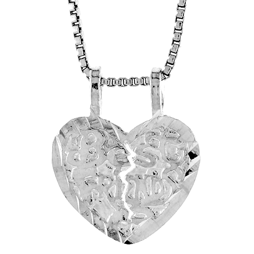 Sterling Silver Small Best Friend Pendant, 1/2 inch Tall