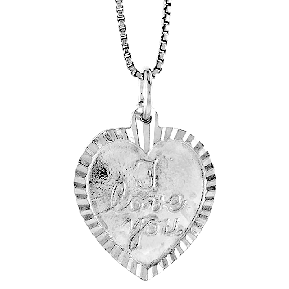 Sterling Silver I Love You Pendant, 3/4 inch Tall