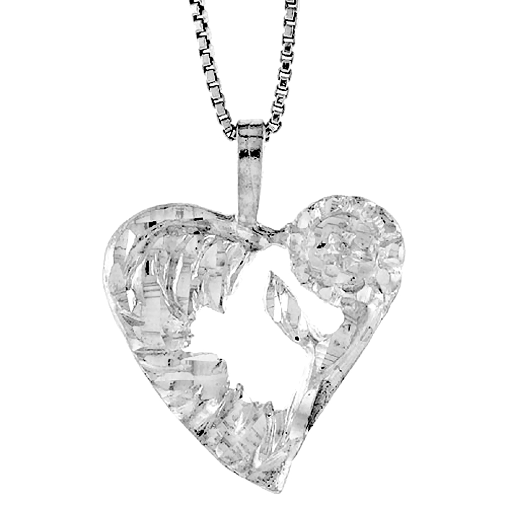 Sterling Silver Heart Pendant, 3/4 Tall