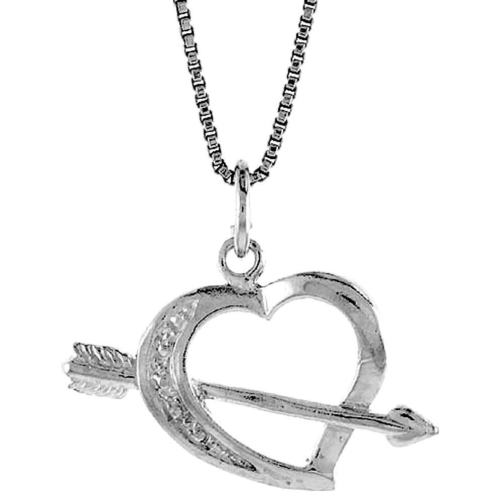 Sterling Silver Heart and Arrow Pendant, 5/8 inch Tall