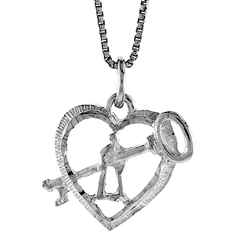 Sterling Silver Key to My Heart Pendant, 5/8 inch Tall