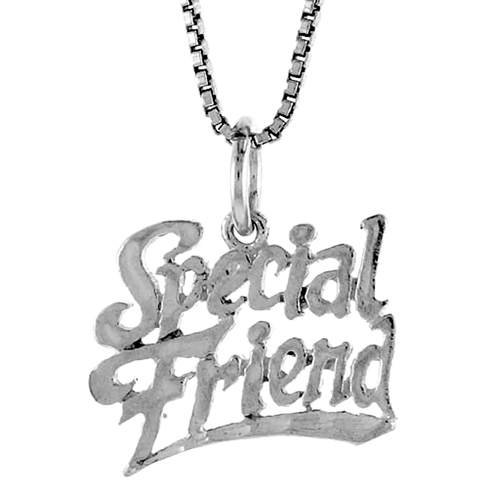 Sterling Silver Special Friend Word Pendant, 1/2 inch Tall