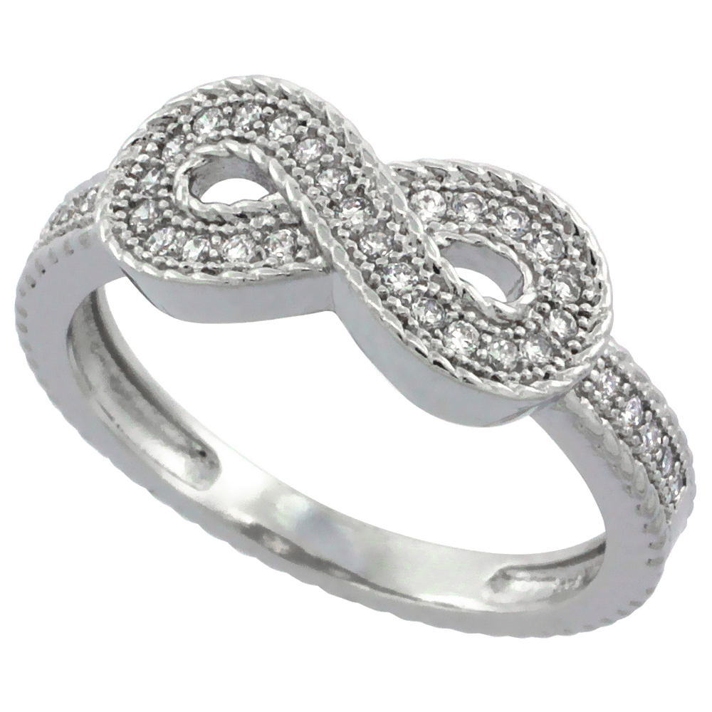 Sterling Silver Cubic Zirconia Infinity Symbol Ring Micro Pave, sizes 6 - 9