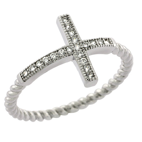 Sterling Silver Cubic Zirconia Sideway Cross Ring Micro Pave, sizes 6 - 9