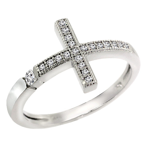 Sterling Silver Cubic Zirconia Sideway Cross Ring Micro Pave, sizes 6 - 8