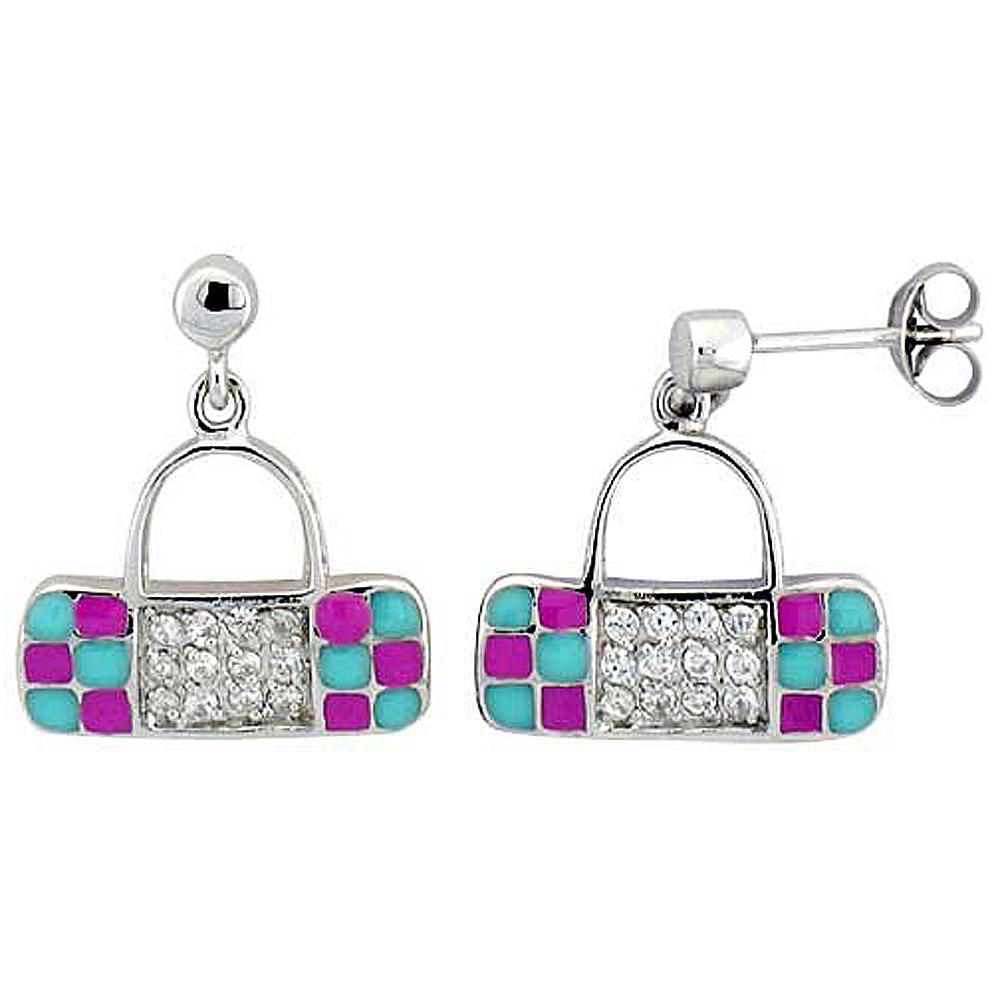 Sterling Silver Purse Dangling Earrings Cubic Zirconia Pink & Blue Enamel Geometric Pattern