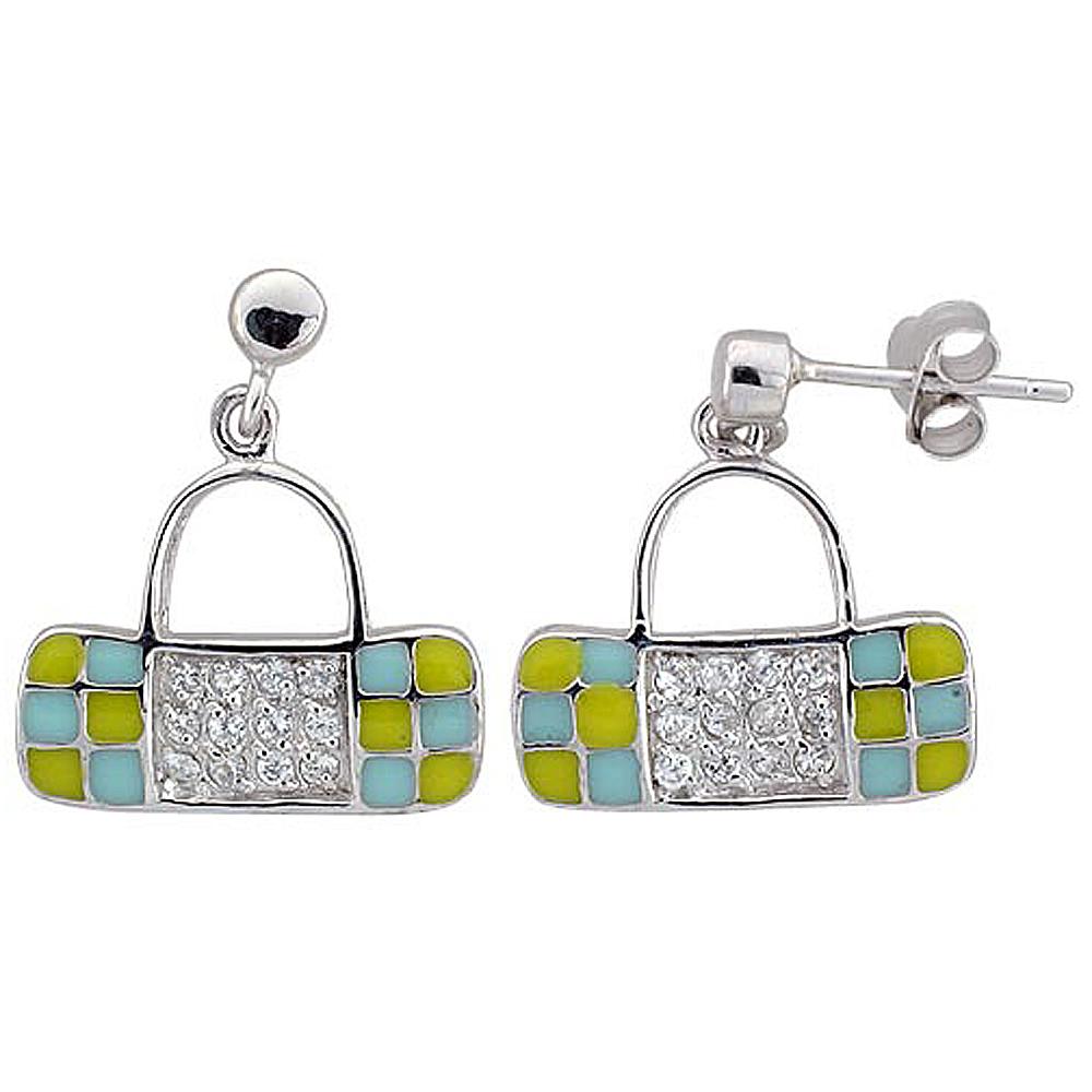 Sterling Silver Purse Dangling Earrings Cubic Zirconia Yellow & Blue Enamel Geometric Pattern