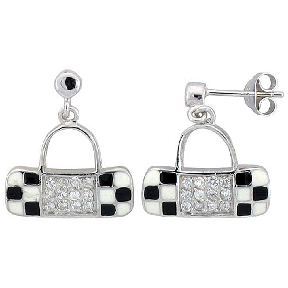 Sterling Silver Purse Dangling Earrings Cubic Zirconia Black & White Enamel Geometric Pattern