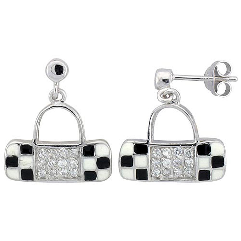 Sterling Silver Purse Dangling Earrings Cubic Zirconia Black & White Enamel Geometric Pattern
