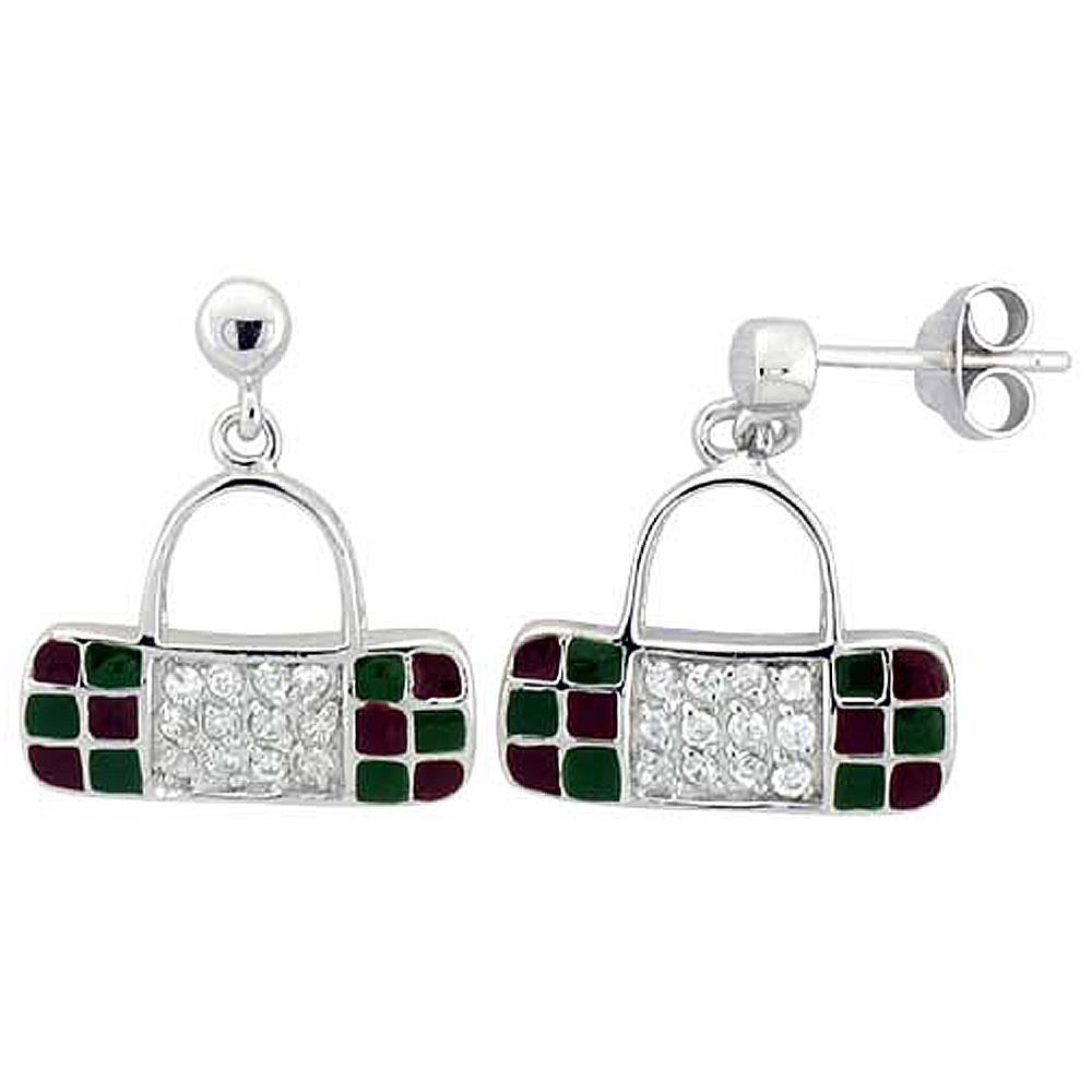 Sterling Silver Purse Dangling Earrings Cubic Zirconia Green & Red Enamel Geometric Pattern