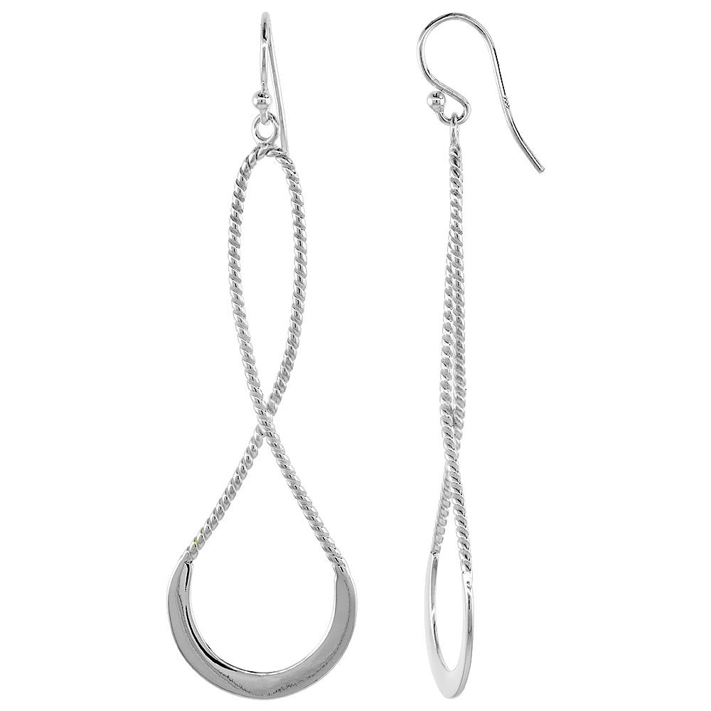 Sterling Silver Long Twisted Dangle Earrings Textured, 2 3/16 inches long